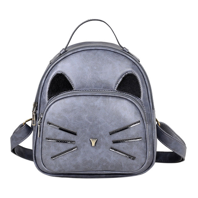 Cute Cartoon Cat Women Backpack PU Leather Backpack Cat Printed Backpack School Bags for Teenage Girls Small Travel Rucksack