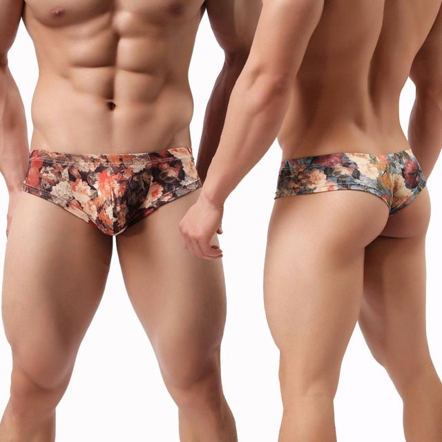 סקסי גברים בוקסר homme פרח נמוך מותן תחתוני גבר חלב משי U קמור פאוץ תחתוני cueca calzoncillos M-XL