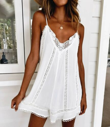 Boho Womens Lace Embroidery Sling Sexy V-Neck Spaghetti Strap Summer Loose Casual Beach Mini Party Dress Solid White Dreass