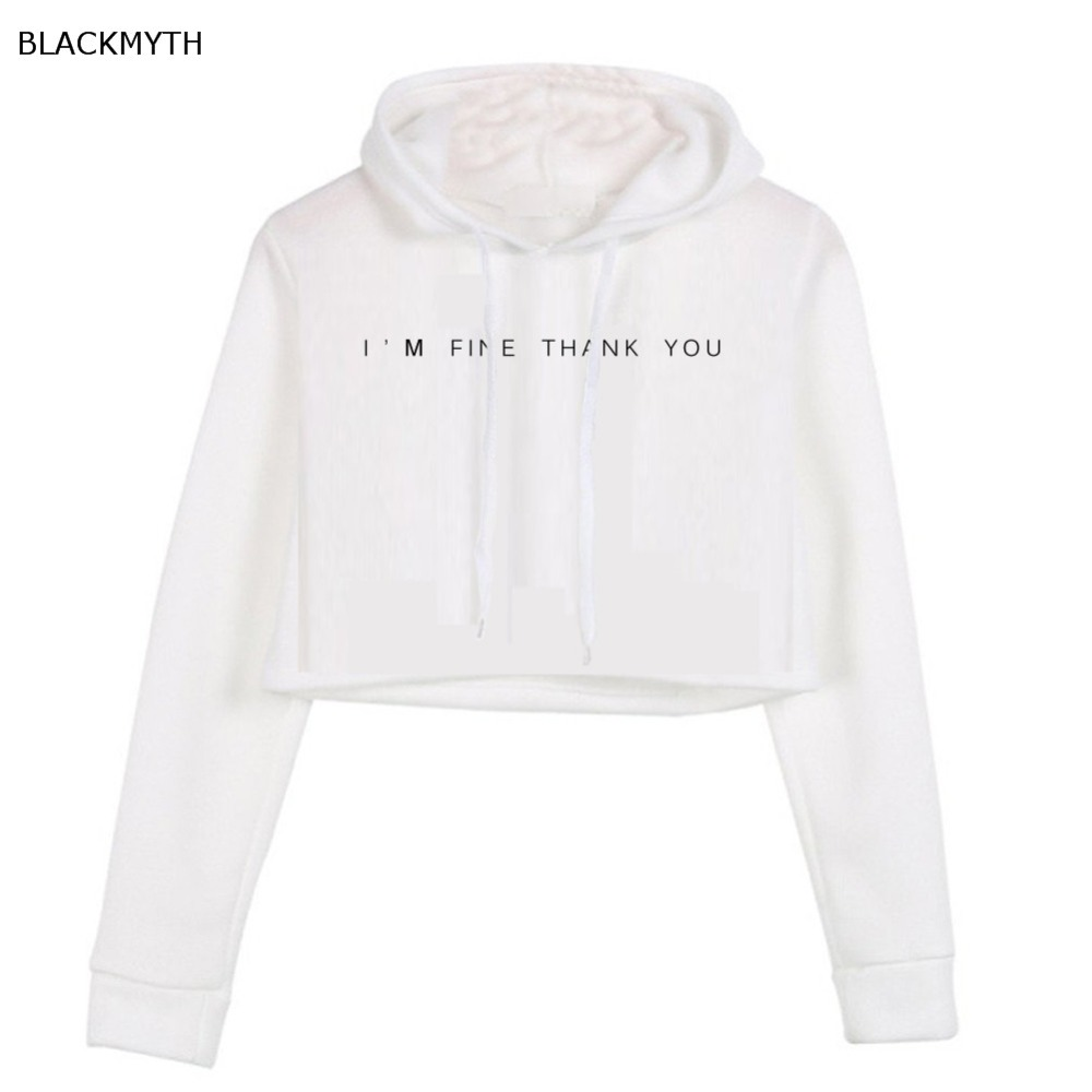 buy 2017 casual women crop top hoodie teen sweatshirt hoody i 39 m fine thank you. Black Bedroom Furniture Sets. Home Design Ideas