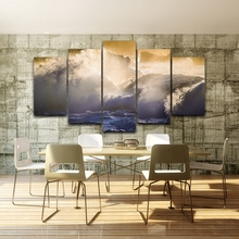 Wall Art Pictures Home Decoration Posters Unframed 5 Pieces Sunshine Billow Sea Wave Landscape HD Printed Modern Painting