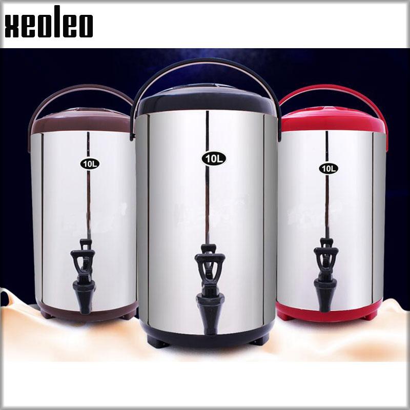XEOLEO Bubble Tea Insulation Preservation Barrel 10L Insulation Bucket Stainless Steel Insulation Barrel Keep Temperature 4 Hour