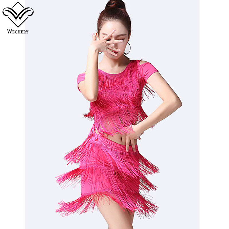 Wechery Latin Dancing Dress for Women Lady Female Flamenco Tango Cha Cha Rumba Dance Dresses Tassels Two Piece Fringe Costume