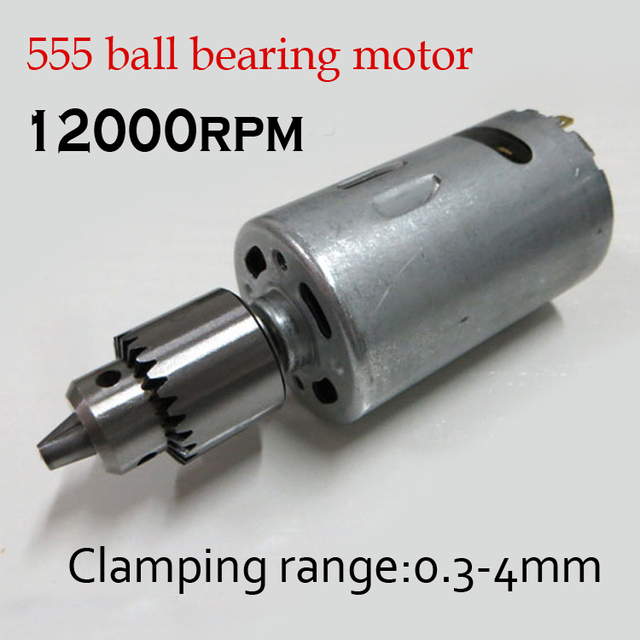 12-24V DC DIY Mini Micro Electric Drill 555 ball bearing motor Bench drill 6000-12000r + JT0 Drill Chuck 0.3-4mm
