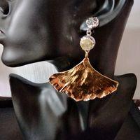 Trendy Ginkgo Leaf Plated Gold Silver Dangle Earrings 2017 Vintage Nature Stone Drop Earrings For Women
