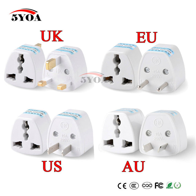 1PC Universal US UK AU To EU Plug USA To Euro Europe Travel Wall AC Power Charger Outlet Adapter Converter 2 Round Socket Pin