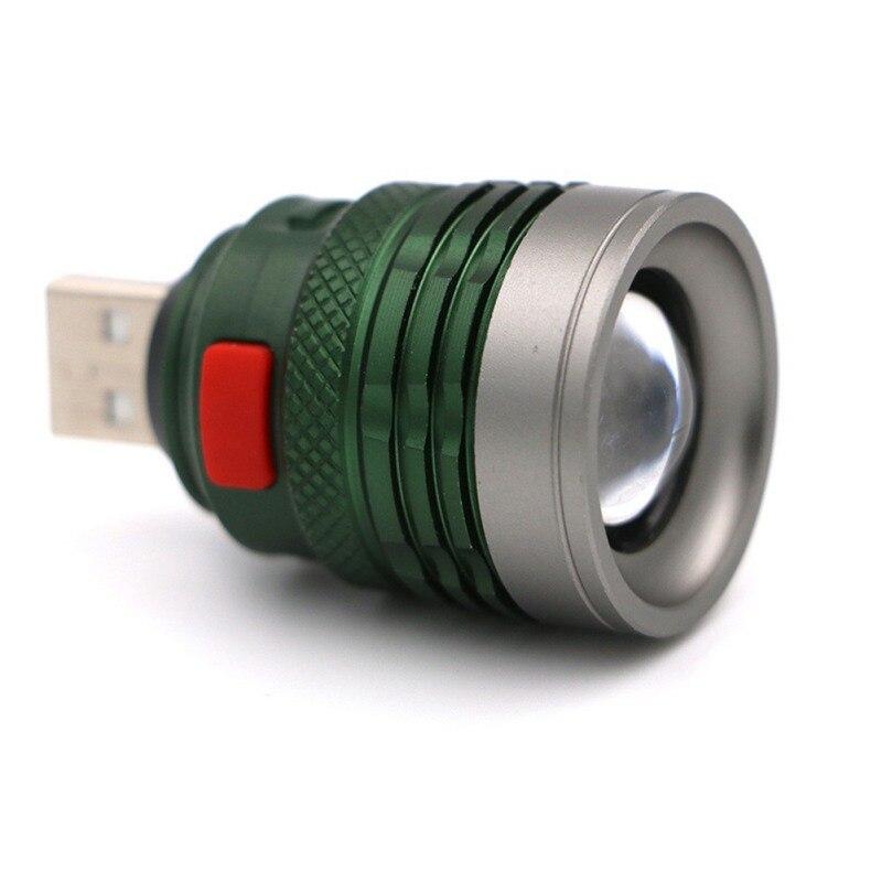 LED Lighting USB Head Mini Aluminum Flashlight Portable Charging Interface Handy Pocket Lamp For Riding Camping Night walk