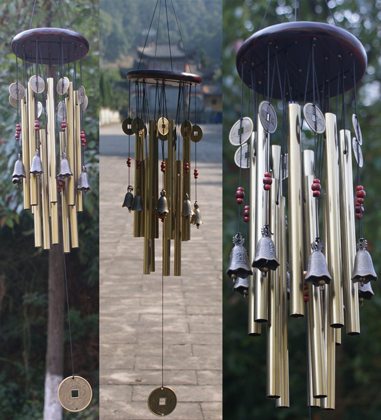 New Creative Decoration Gift 4 Tubes 5 Bells Copper Coins Windchime Chapel  Bells Wind Chimes Door Hanging Home Decor In Non Currency Coins From Home  ...