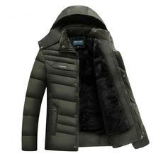 Мужчины Зимние Парки Продажа Зимние Парки Продажа Более Среднего Возраста И Старых мужская Мода Плюс размер Теплые Хлопка-pad Теплое Зимнее Пальто