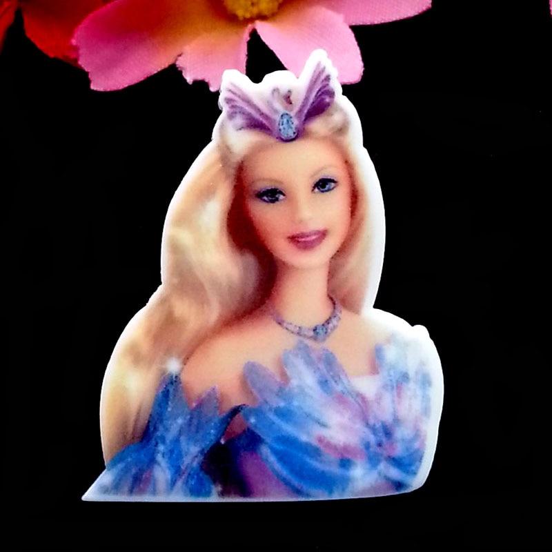 Planar Resin Hair Bow Center WHOLESALE Barbie 33 x 32 mm 6 pc