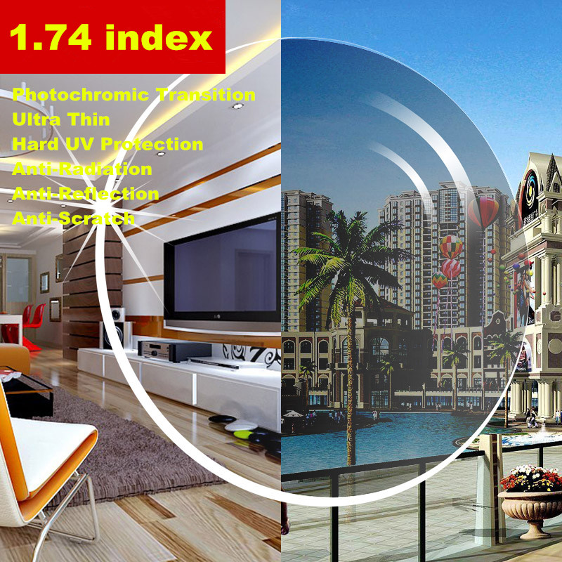 2 PCS 1 74 index Ultra Thin Photochromic Transition Aspheric Prescription Lenses CR 39 Myopia Presbyopia