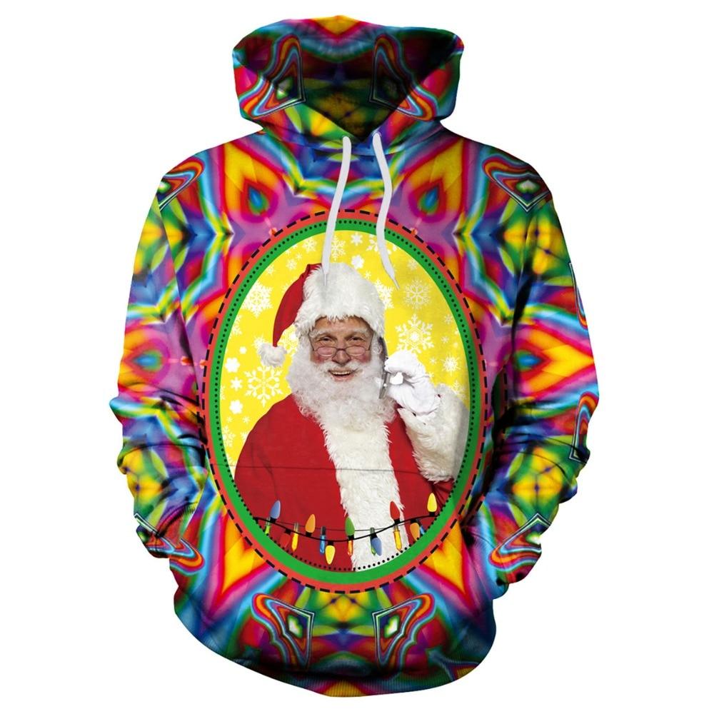 [EL BARCO] 3D Christmas Santa Claus Print Men Women Hoodies Sweatshirt Winter Cotton Colorful Long Female Hooded Pullover Casual