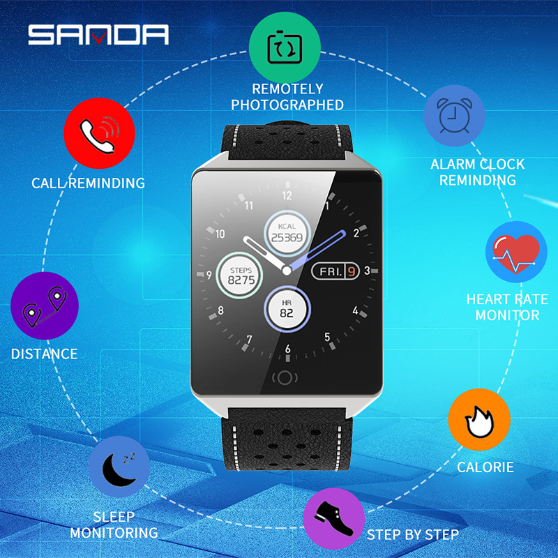 Obedient Sanda Smart Watch Ck19 Ip67 Waterproof Tempered Glass Heart Rate Monitor Blood Pressure Fitness Tracker Men Women Smartwatch Catalogues Will Be Sent Upon Request Men's Watches