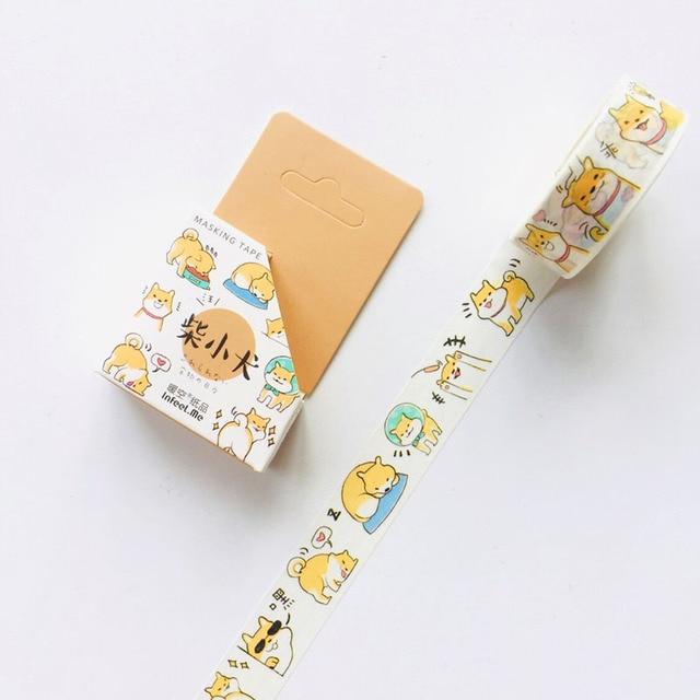 1 Roll 1.5cm*7M Cute Animals Penguin Cat Panda Otter Rabbit Masking Washi Tape Album Scrapbooking Decor Stick Label 5