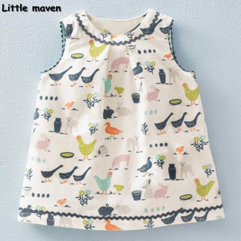 Little maven 2017 new summer baby girls floral print dress brand clothes kids Cotton duck rabbit printing dresses S0136 little maven kids brand clothes 2017 new autumn baby girls clothes cotton bird printing girl a line pocket dress d063