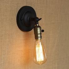Luz de pared E27 bombilla Edison Mini lámpara de pared perilla interruptor loft país americano iluminación retro industria Vintage hierro pequeña lámpara de pared