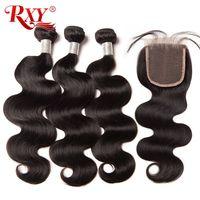 RXY Brazilian Body Wave Human Hair Bundles With Closure 3 Bundles With Closure 4pcs Lot Deals