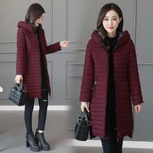 New Winter Jacket Women Long Slim Coat Female Cotton-padded Clothing Parka Plus Size Hooded Light Jackets Casual Outwear