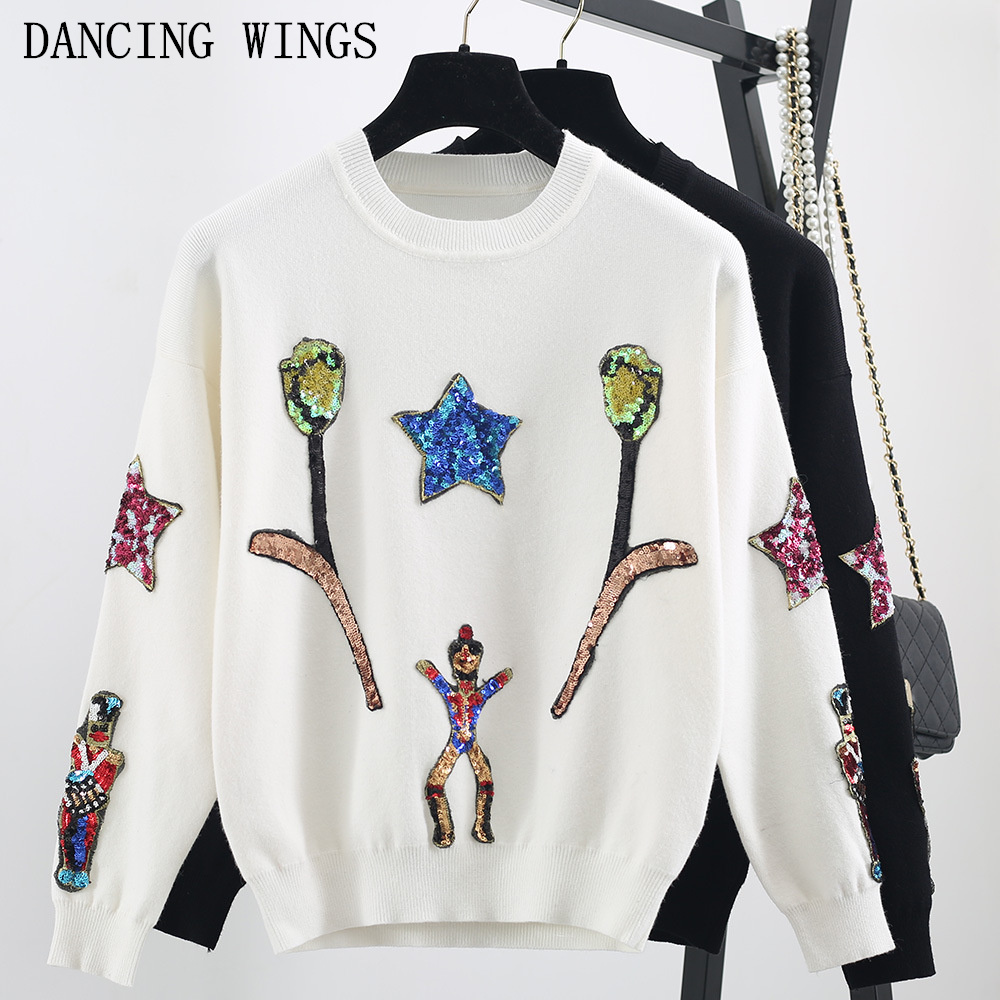Étoile paillettes perles de broderie à manches longues pulls pulls hauts printemps automne décontracté tricoté femmes chandail