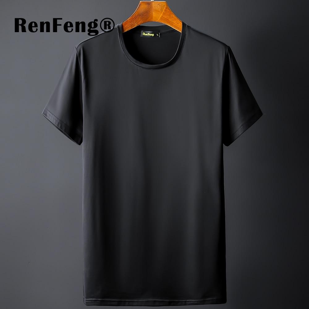New Blank black Mercerized Cotton Short Sleeve Men's T-Shirt Underwear Round Collar Ice Silk Cool T-Shirt Slim Blusa Tops Summer (12)