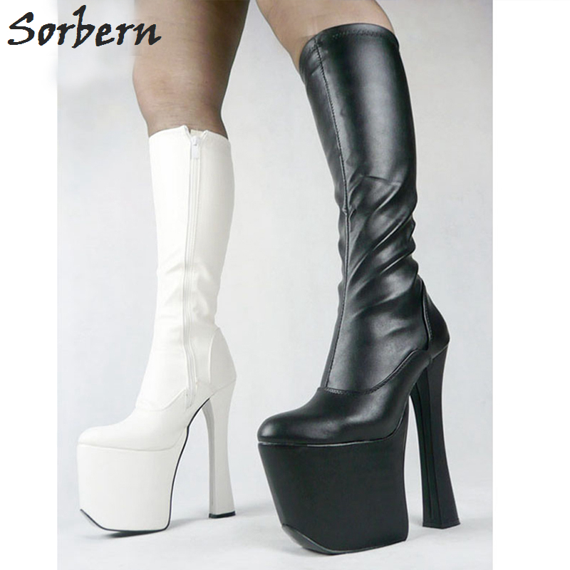 Sorbern Sexy 20cm High Heel Thick Chunky Heels 9cm Platform Women Long Boots  Knee-High Woman Shoes For Party qiu dong in fashionable boots sexy and comfortable women s shoes the new national style high heel heel thick heel