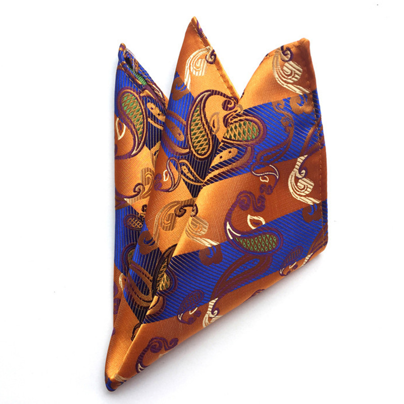Paisley Floral Polyester Pocket Square For Wedding Suits Small Hankies For Men Chest Towel Pocket Towel Hankies