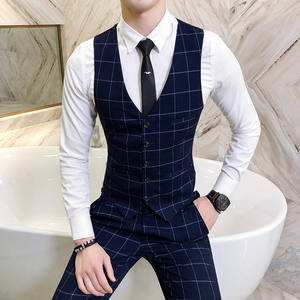 2019 Men's Fashion Boutique Quality Grid Wedding Dress Waistcoat Suits Vest Men Business Grid Slim V-neck Suits Vests Waistcoat