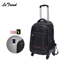 New USB Multifunction Rolling Luggage 18inch Spinner Backpack Shoulder Travel Bag Casters Trolley Carry On Wheels School Bag
