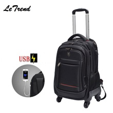 New USB Multifunction Rolling Luggage 18inch Spinner Backpack Shoulder Travel