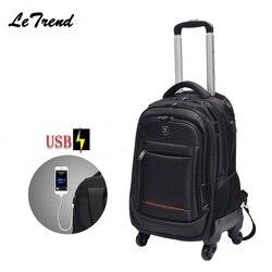 Nieuwe USB Multifunctionele Rolling Bagage 18 inch Spinner Rugzak Schouder Reistas Wielen Trolley Carry Op Wielen Schooltas