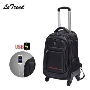 Nowy USB wielofunkcyjny Rolling bagaż 18 cali Spinner plecak torba podróżna na ramię kółka wózek Carry On Wheels School Bag