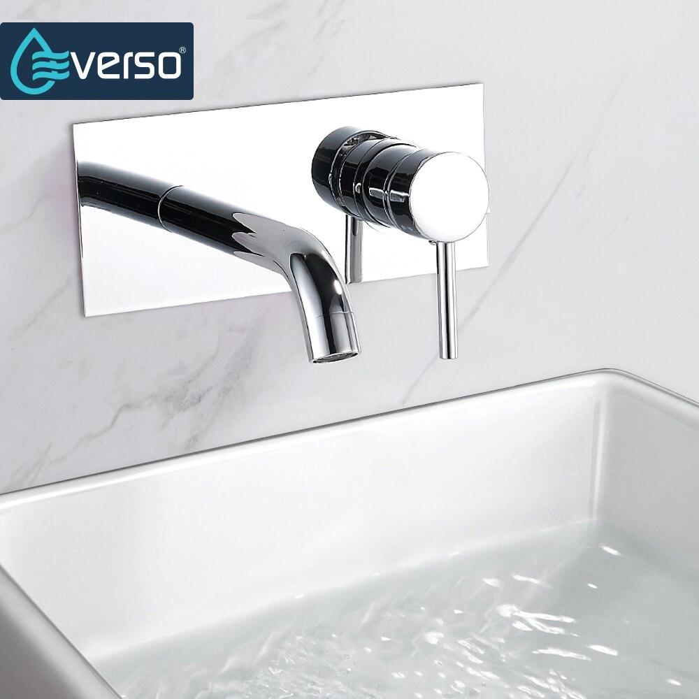 EVERSO mural en laiton chromé salle de bain bassin robinet vanité évier mitigeur poignée unique