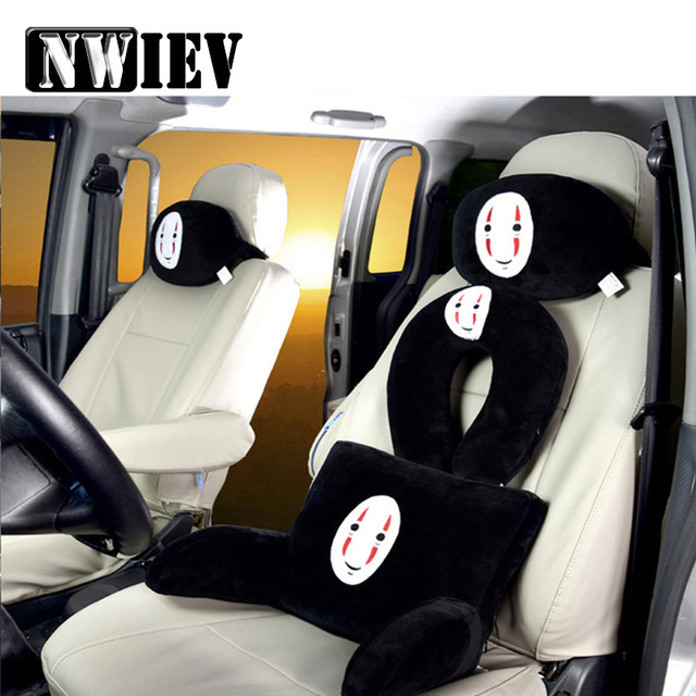 Nwiev Car Headrest Seat Covers Lumbar Neck Pillow Cushion For
