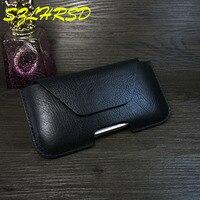 SZLHRSD Black Men Belt Clip Genuine Leather Pouch Waist Bag Phone Cover For IPhone 8 Plus