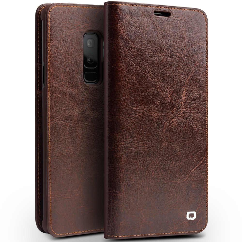 QIALINO из натуральной кожи чехол для телефона для samsung Galaxy S9 ультратонкий с отделениями для купюр-сумочка с отделением для денег для samsung S9 плюс