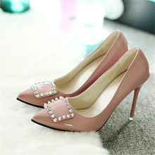 newPumps 2016 new low shoes to help the trend of small high-heeled shoes women's PU leather shoes