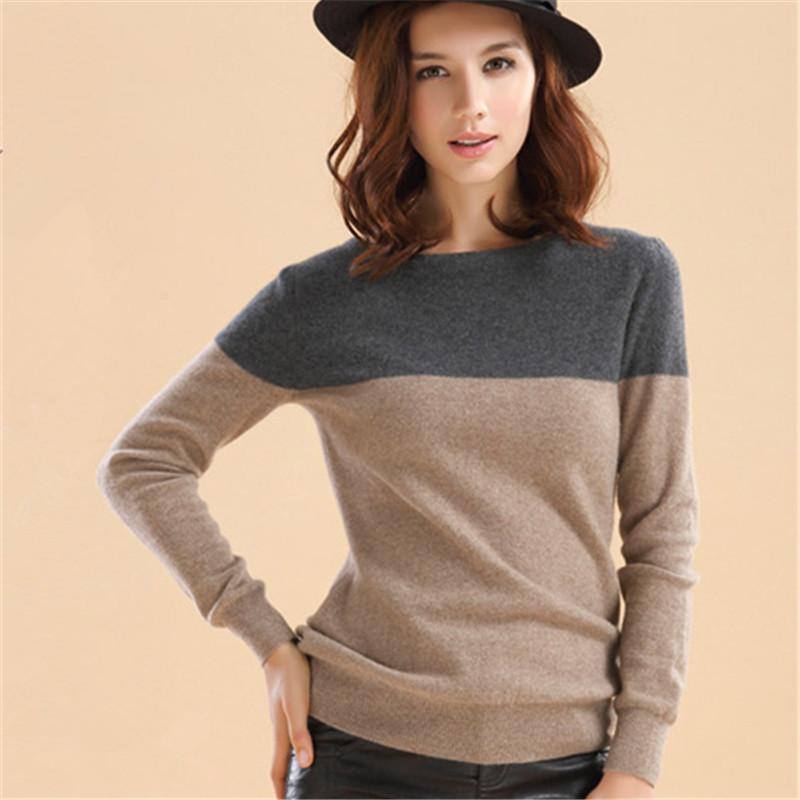 Autumn Winter Cashmere Sweater Women Patchwork Pullovers O ...
