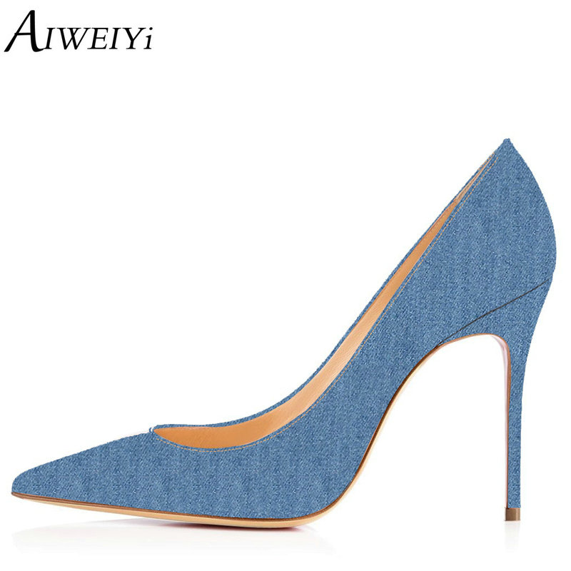 AIWEIYi Women High Heels Denim Skin Platform Pumps 10CM Pointed toe Slip On Ladies Dress Party Pumps Stiletto Shoes Woman Heels sexy pointed toe glitter high heels pumps pointed toe blade heels women party dress shoes slip on bride heels pumps