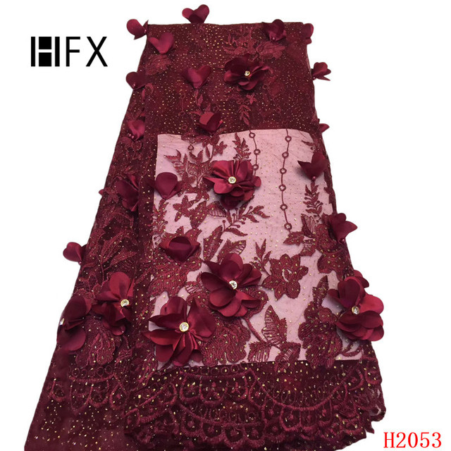 HFX 2019 African Lace Fabric High Quality 3D Nigerian Lace Fabrics Latest Tulle French Lace With Stones For Wedding Dress F2053