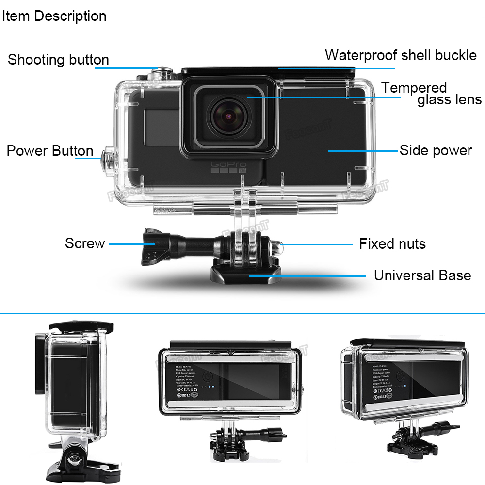 Image 5 - FeoconT Extended Battery For GoPro 5 Go Pro 6 Waterproof Protective Case Diving Housing Shell with Side Power Bank-in Sports Camcorder Cases from Consumer Electronics