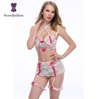 1015 Free Shipping Adjustable Straps Sexy Erotic Women Lingerie Hollow Out Bra Skirt Garters Sexy Lace