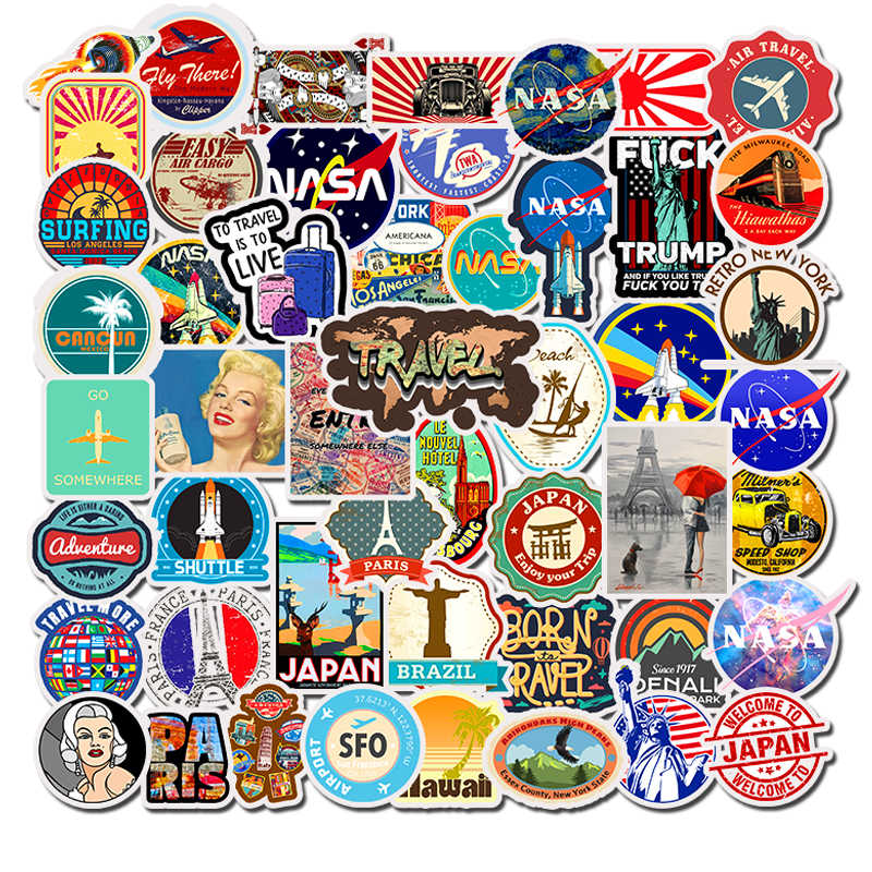 50PCS Journey Scenery Travel Graffiti Stickers Cartoon DIY Decals Sticker For Fridge Suitcase Stationery Developer Decor