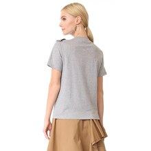 Women Cute Cotton T-shirt  Summer Solid Gray
