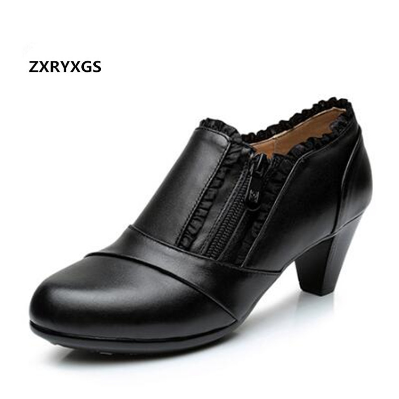2019 New Spring Plus Size Women Shoes Elegant Fashion Shoes High Heels Zipper Deep Mouth Plus Velvet Genuine Leather Shoes Black