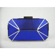 8607-BE BLUE Lady Fashion Hochzeit Braut Party Night clutch bag Achteckige geldbörse handtasche fall box IN KOSTENLOSER VERSAND