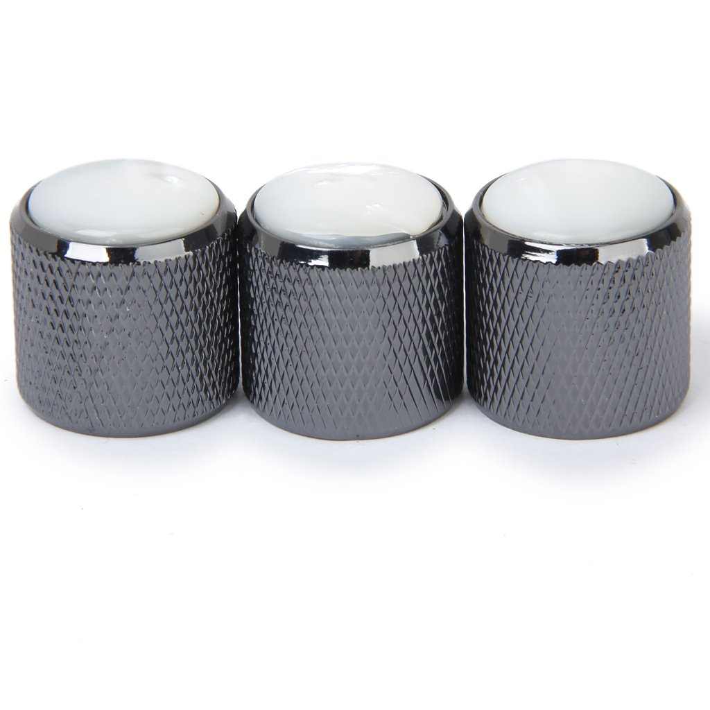 3pcs Domed Volume Tone Control Knob for Electric Guitar - Black with White Top ...