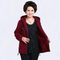 Spring Autumn Casual Ladies Hooded Warm Fleece Jackets Dark Red Blue Purple Gray Hood Coat Middle