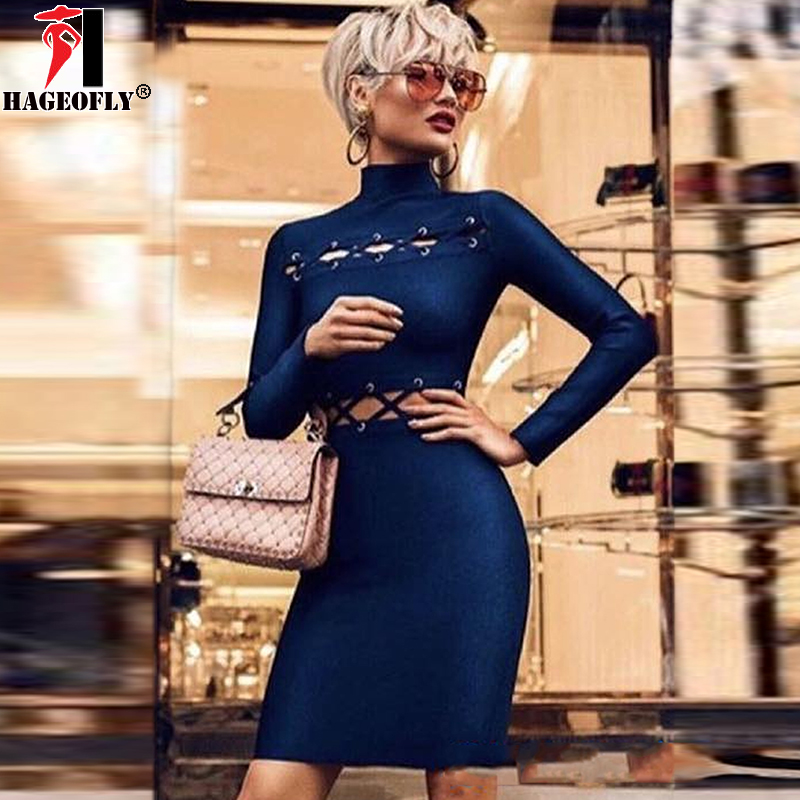 HAGEOFLY 2018 HL New Long Sleeve Bandage Dress Rayon Hollow Out Dark Blue Red Summer Bodycon Sexy Party Dresses Vestidos Female цена