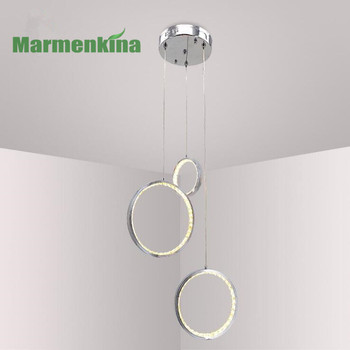 LED Round Aluminum Crystal pendant light modern minimalist round ring bedroom living room restaurant lights.