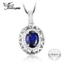 Jewelrypalace diseño único 1.5ct zafiro azul creado colgante genuino 925 plata fina colgante de joyería para las mujeres regalo
